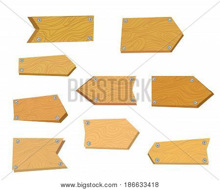 Wooden tables set for the signboards and placards vector graphic illustration