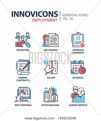 Employment - modern color vector single line icons set. Recruiting, job opening, approved candidate, signing contract, salary, schedule, best proposal, office building, career growth, credit, card
