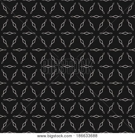 Subtle monochrome texture, vector seamless pattern. Modern minimalist background with simple geometric figures, outline rhombuses. Dark design element for prints, covers, textile, fabric, digital, web