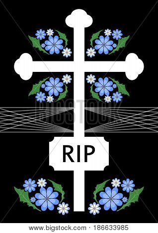 Unusual funereal decoration with cross silhouette and small blue flowers, white simple cross with lettering RI, vector EPS 10