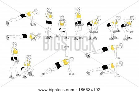 The girl is doing sports exercises with dumbbells. Sequence of movements on a white background