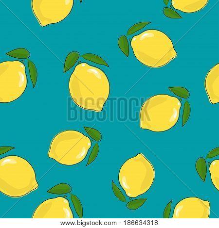 Seamless Pattern of Lemon , Fruit Citrus on Azure Background, Vector Illustration