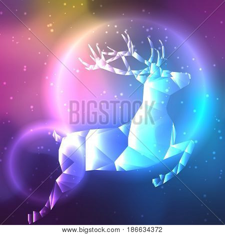 Low poly crystal polar deer. Space background with stars and planets. Cosmos glowing.