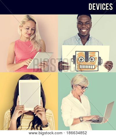 Set of Diverse People with Technology Invention Studio Collage