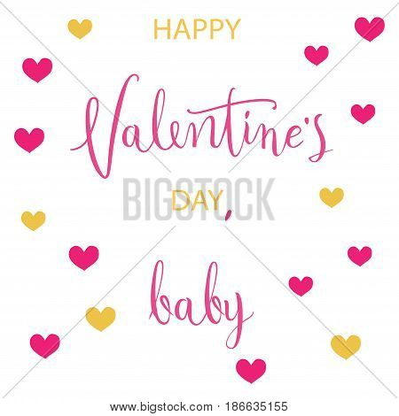 February 14th valentines day vintage lettering background or card with hearts