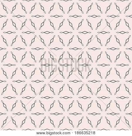 Subtle monochrome texture, vector seamless pattern. Modern minimalist background with simple geometric figures, outline rhombuses, triangular grid. Design element for prints, textile, fabric, digital, web