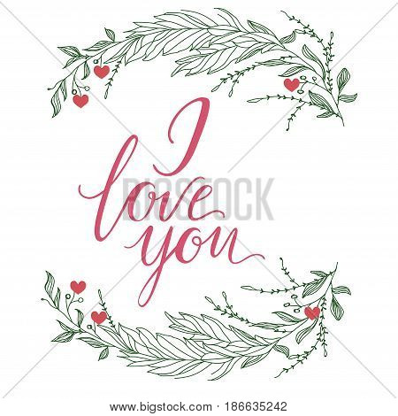I love you vector text handmade calligraphy and lettering for greeting card. In bright colors