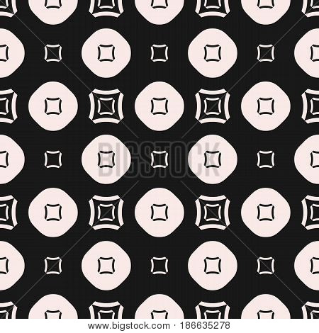 Vector seamless pattern, minimalist geometric monochrome texture with simple figures, smooth outline squares, circles, regular grid. Abstract contrast background, repeat tiles. Stylish design element