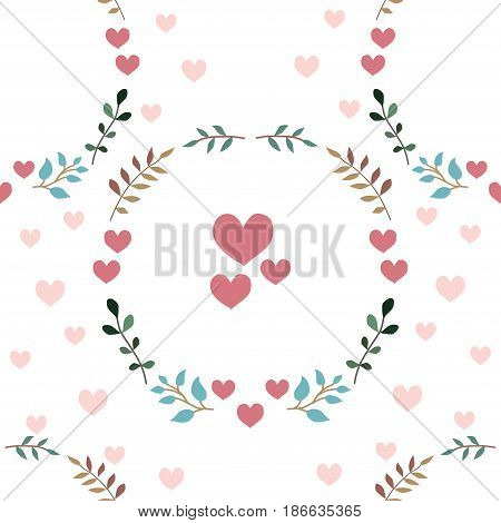 Love seamless pattern retro style with hearts on a white background