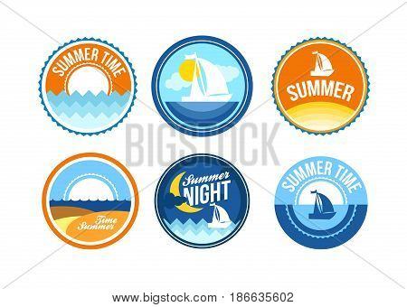 Vector summer time emblems for travel agency. Ocean label for print.