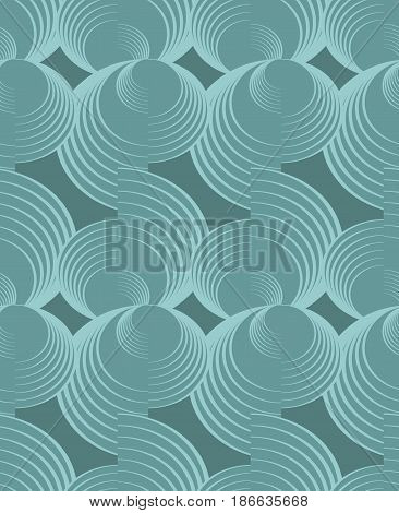 Nostalgy green spiral patterns on dark green background, seamless dark background, golden circle shape on black area, vector eps10