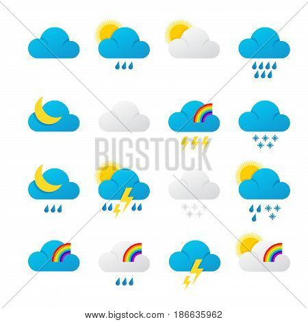 Meteorology signs and weather. Clouds, lightning, rain, snow, wind and sun icons. Vector illustration