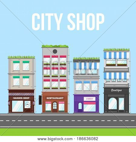 City street with shop, cafe and restaurant. Small business vector illustration.