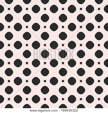 Vector monochrome seamless pattern, simple geometric texture with circles and smooth squares. Illustration of perforated surface. Abstract endless background. Design for prints, digital, web, textile, fabric, package