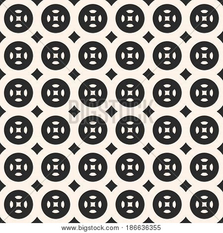 Vector monochrome pattern, abstract geometric seamless texture with circles, rhombuses, simple rounded shapes, repeat tiles. Modern background for prints, covers, textile, home decor, bedding, package