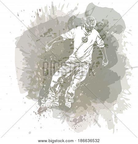 Roller skating. Grunge trend handcrafted splash background. Good for print web flayer design.