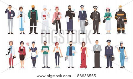 Set of different people profession. flat illustration. Manager, doctor, builder, cook, postman, waiter, pilot, policeman photographer fireman veterinarian teacher maid programmer and other