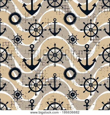 Vector Seamless Pattern Steering Wheel, Life Preserver, Anchor, Waves Creative Geometric Vintage Bac