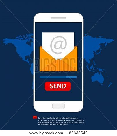 Email social network. Send message on mobile phone. Email marketing. Flat style vector illustration.