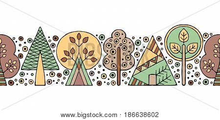 Vector Hand Drawn Seamless Pattern, Border. Decorative Stylized Childish Trees Doodle Style, Tribal