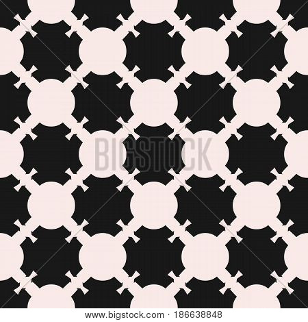 Vector seamless pattern, monochrome mosaic texture, abstract ornamental background. Square illustration for tiling, rounded shapes, diagonal grid. Design element for prints, decor, fabric, textile, furniture