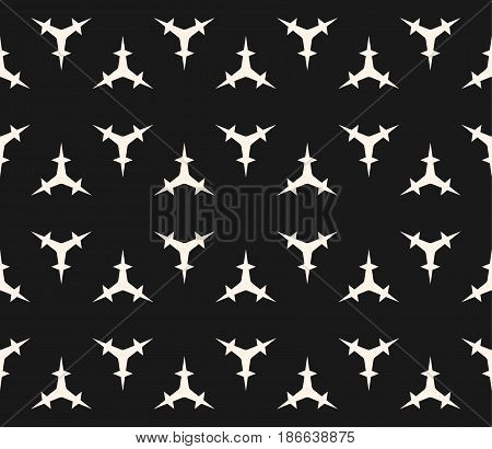Vector seamless pattern, minimalist monochrome geometric texture. Simple dark illustration of triangular prickly shapes. Abstract endless background. Design for prints, covers, textile, digital, web