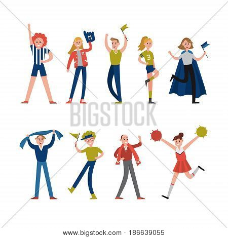 Smiling sport fans and supporters characters. Support for team sports vector Illustrations isolated on a white background