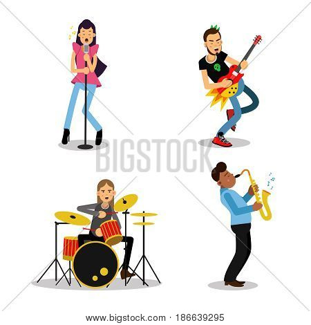 Musician characters with different musical instruments, vector Illustrations isolated on white background