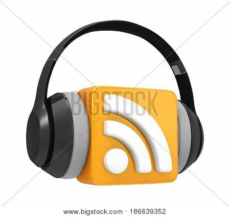 RSS Symbol with Audio Headphones isolated on white background. 3D render