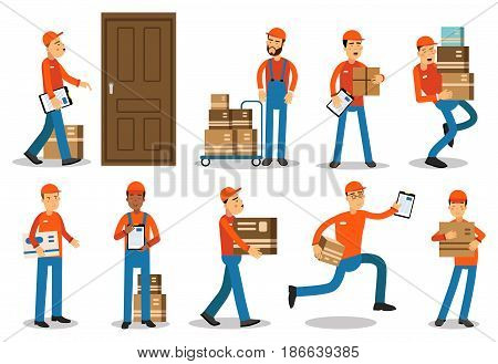 Couriers delivering packages. Delivery service vector Illustrations isolated on white background
