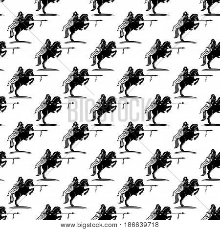 Pattern for seamless background with knight on a horse.