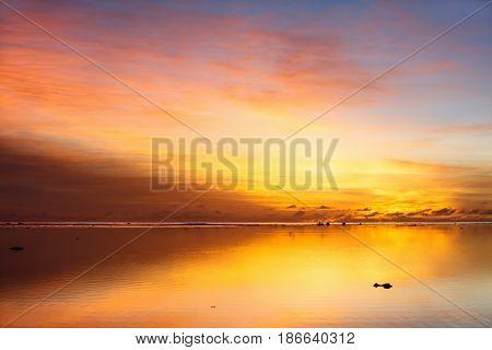Beautiful sunset over tropical sea