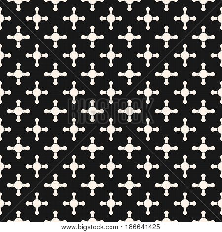 Vector seamless pattern, abstract geometric background with simple geometrical shapes, small rounded crosses, circles, staggered grid. Dark monochrome endless texture, repeat tiles. Square design element