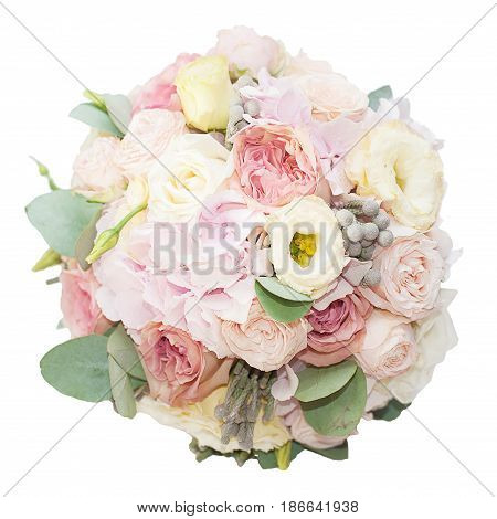 Bouquet of gentle mixed flowers in the box isolated on white background