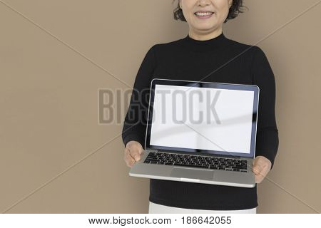Woman Holding Laptop Copy Space Technology