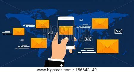 Vector email marketing concept. Flat design. Vector illustration.