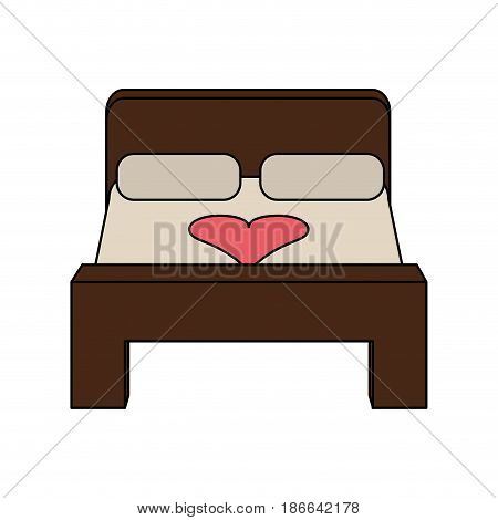 color image matrimonial bed for newlyweds vector illustration