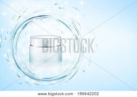 Design cosmetics product advertising. Vector illustration. Aqua cream ads, hydrating facial skincare mock up template. Turquoise mask bottle isolated on glitter particles with water splash