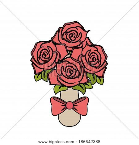 color image wedding bouquet of pink roses vector illustration