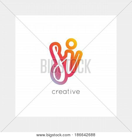 Si Logo, Vector. Useful As Branding, App Icon, Alphabet Combination, Clip-art.