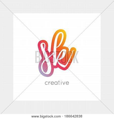 Sk Logo, Vector. Useful As Branding, App Icon, Alphabet Combination, Clip-art.