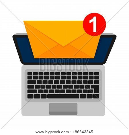 Laptop and envelope on screen. Isolated white background. E-mail concepts. Email marketing. Vector illustration flat design.