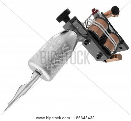 Metallic black tattoo machine with needle and coils closeup. 3D illustration