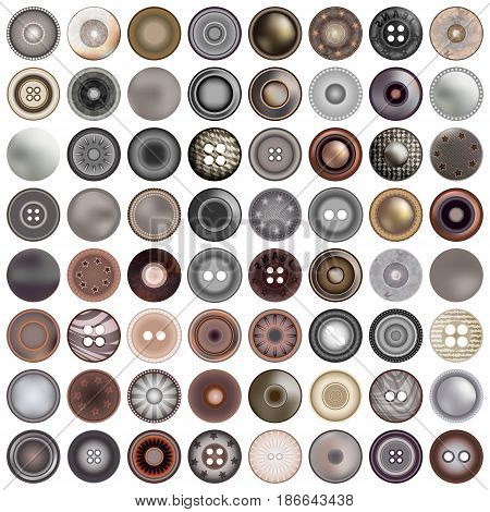 Various sewing buttons isolated on white. Mega set of realistic metal round button set. 3d illustration. vector