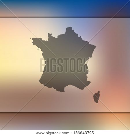 France map on blurred background. Silhouette of vector France map.