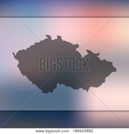 Czech Republic map on blurred background. Silhouette of vector Czech Republic map.