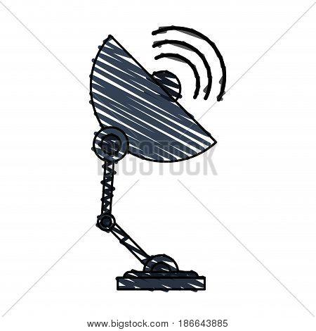 color crayon stripe image satellite antenna communication element vector illustration
