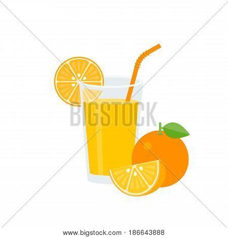 Orange juice in glass with orange straw and ripe, whole of orange, flat design vector