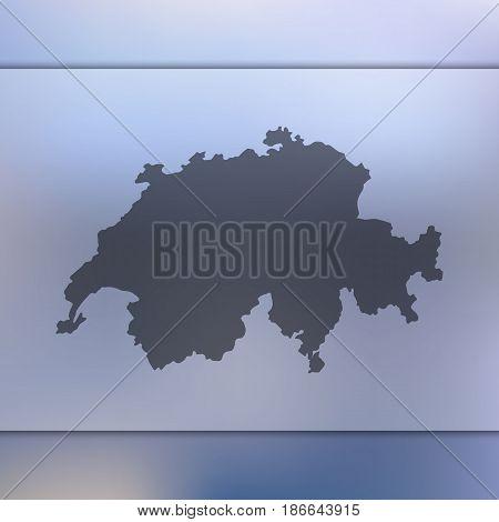 Switzerland map on blurred background. Silhouette of vector Switzerland map.