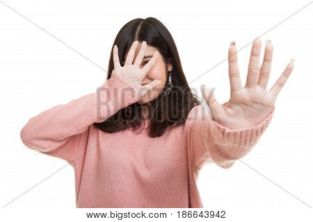 Young Asian Woman Hide Her  Face.